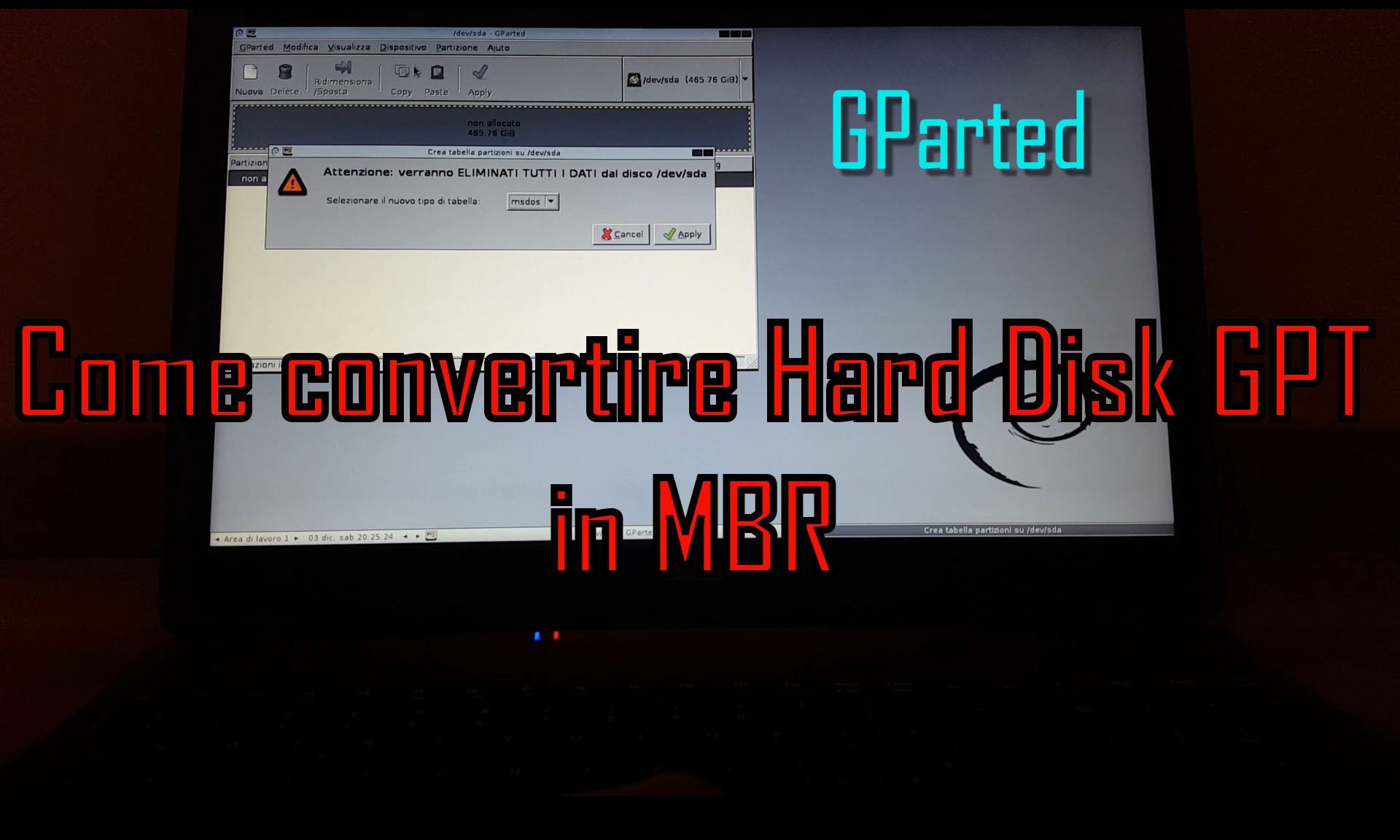 Come convertire Hard Disk GPT in MBR